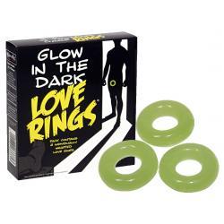 Love Rings - sötétben világító péniszgyűrű szett (3 részes)