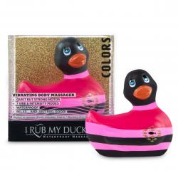 My Duckie Colors 2.0 - csíkos kacsa vízálló csiklóvibrátor (fekete-pink)