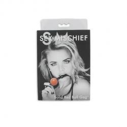 S&M - szilikon szájpecek, műbőr pánttal (piros-fekete)