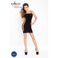 Passion BS026 - oldalt hálós miniruha vékony vállpántokkal (fekete) - S-L