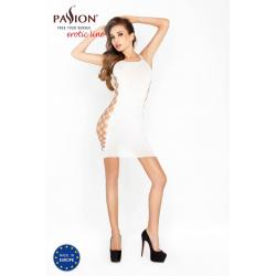 Passion BS026 - oldalt hálós miniruha vékony vállpántokkal (fehér) - S-L