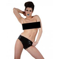 LATEX - női alsó belső dildóval (fekete)